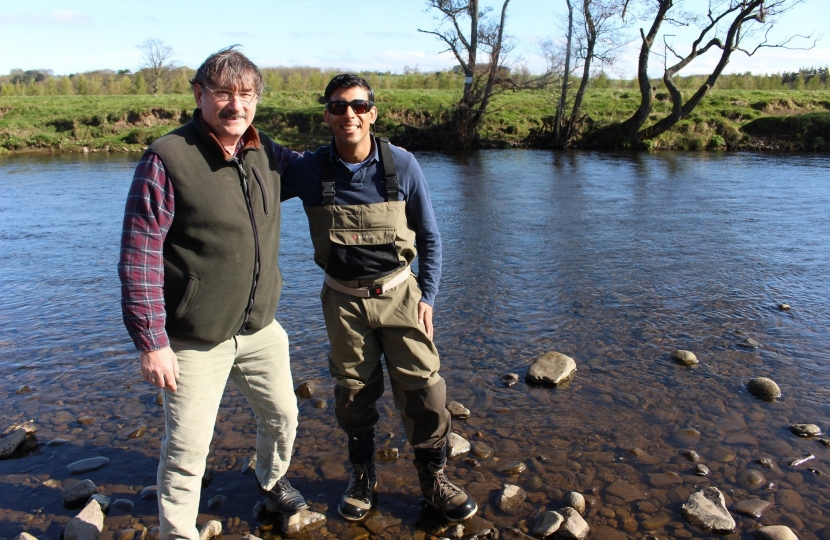 Rishi Sunak on the River Ure with David Bamford