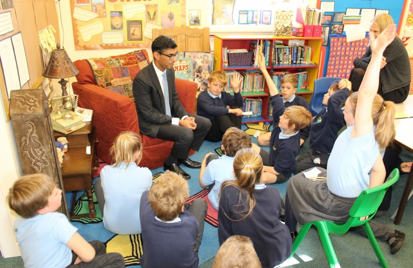 Rishi Sunak at Kirkby Fleetham School