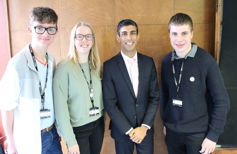 Rishi Sunak at Richmond School Parliament Week