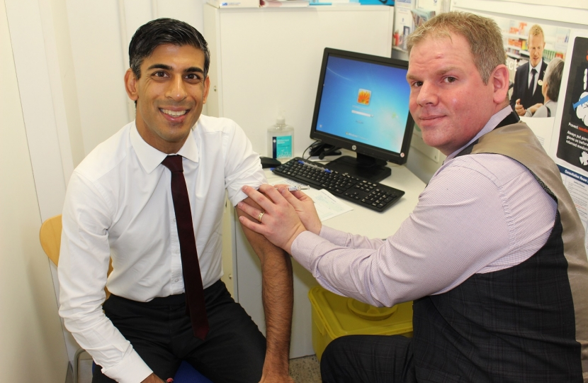 Rishi Sunak at Boots Pharmacy Richmond