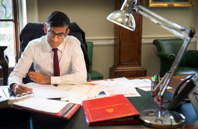 Rishi Sunak, Chancellor of the Exchequer, at work in the Treasury