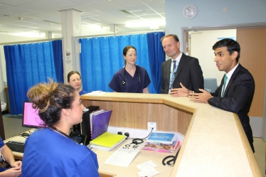 Rishi Sunak with Simon Stevens and Dr James Dunbar at the Friarage Hospital UTC