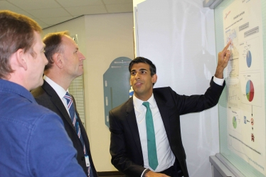 Rishi Sunak at the Friarage Hospital with Simon Stevens and James Dunbar